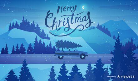 Ilustração de Natal com árvore de Natal