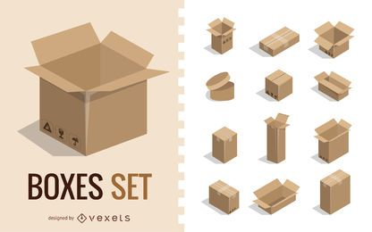 Conjunto de caixas 3D
