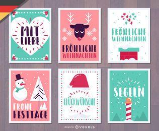 Pacote de cartão de Natal alemão Fröhliche Weihnachten