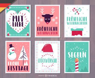 Paquete de tarjetas de Navidad alemán Fröhliche Weihnachten