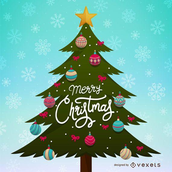 Ilustración del árbol de navidad con adornos
