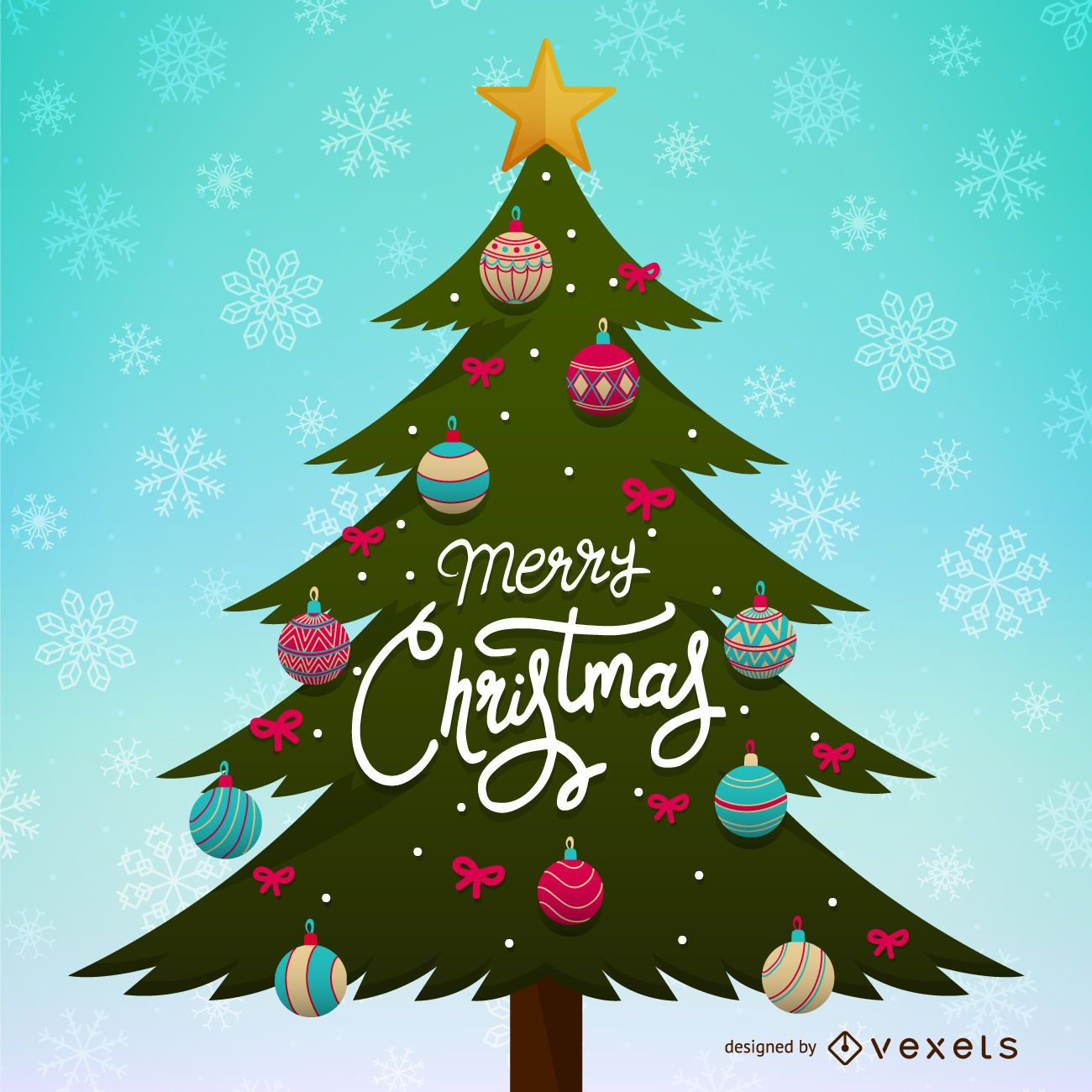Christmas tree ilustration wirh ornaments