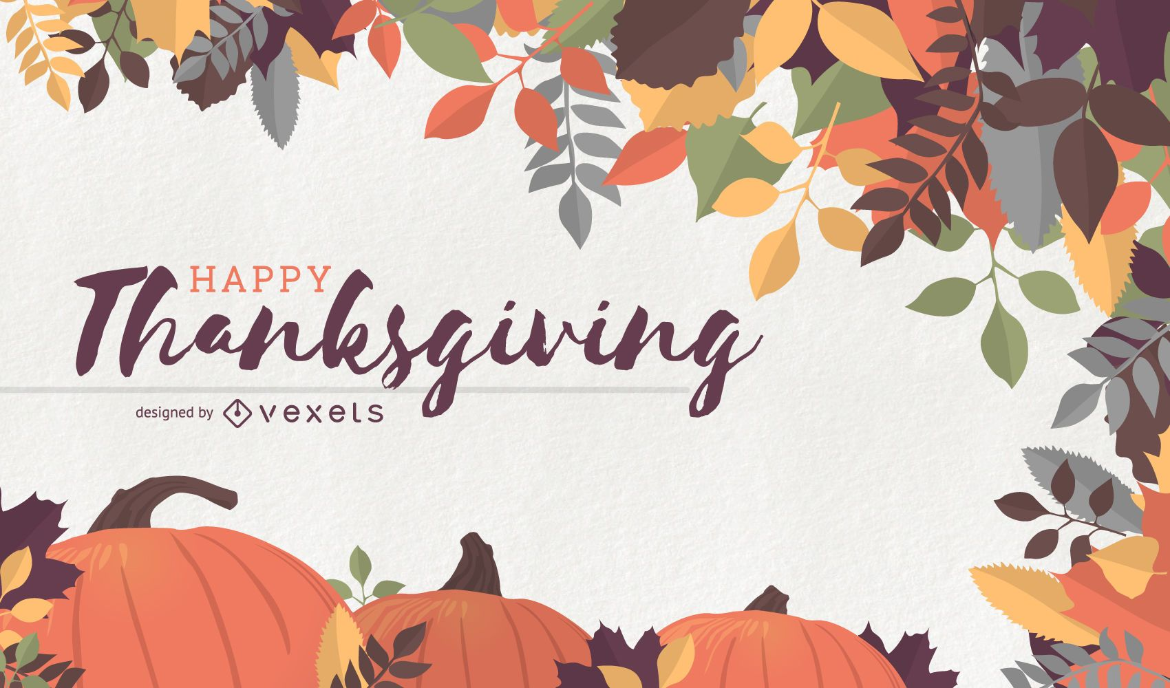 Thanksgiving background with pumpkins and leaves