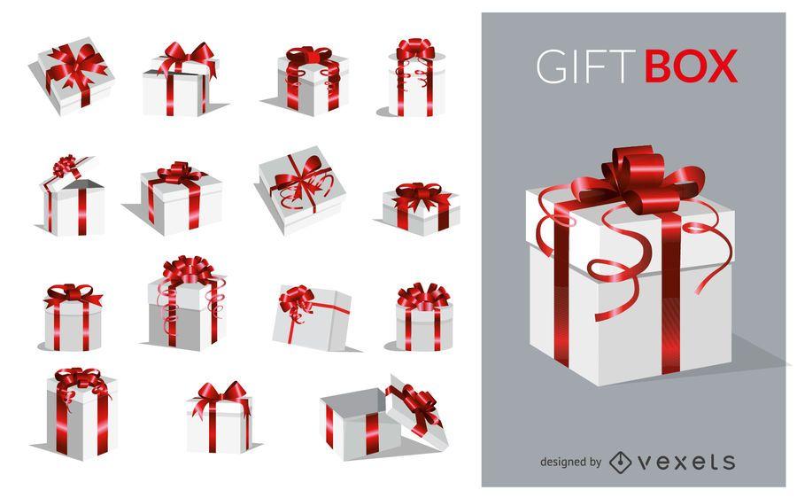 Set de cajas de regalo rojas y plateadas.