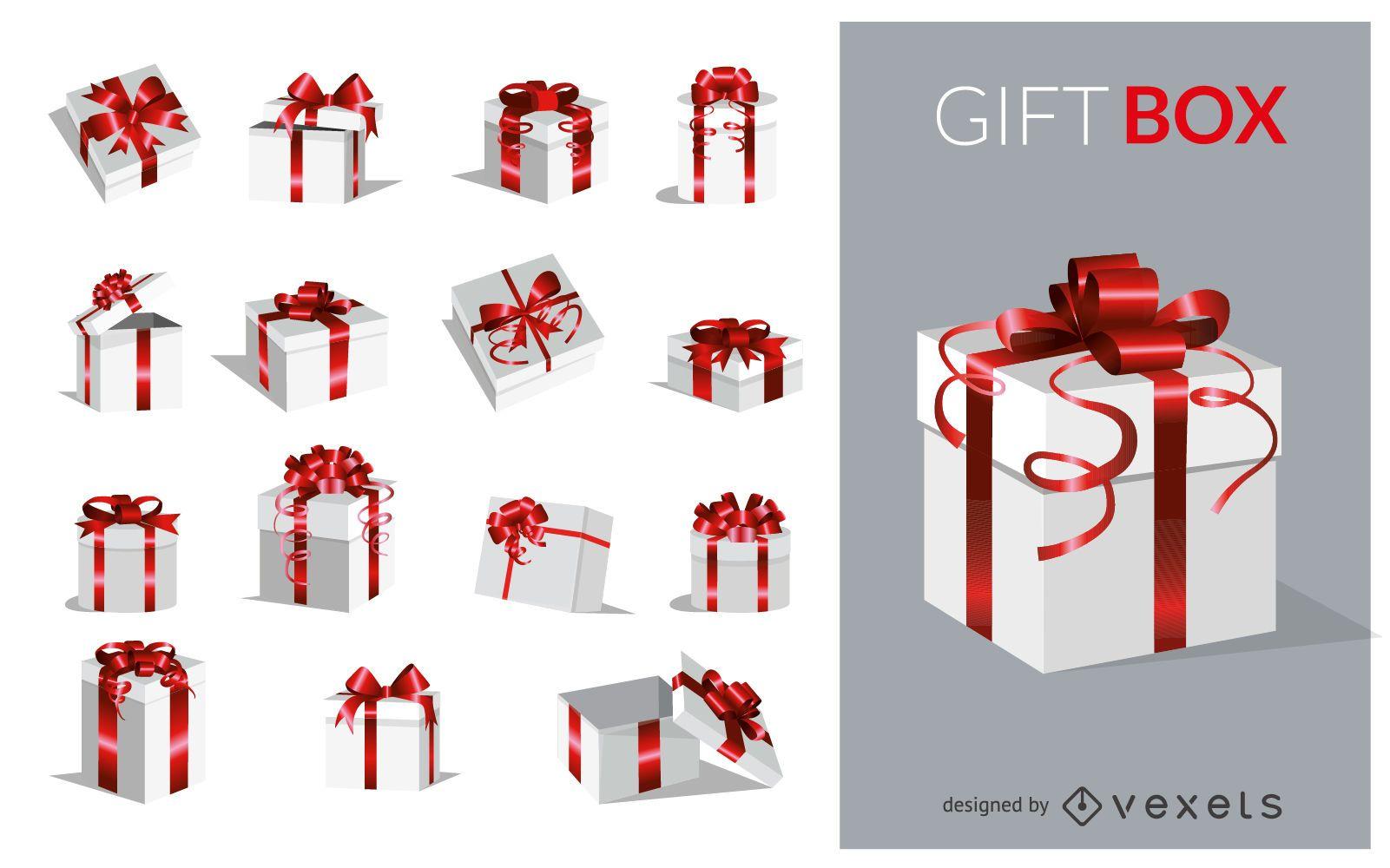 Set de cajas de regalo plateadas y rojas