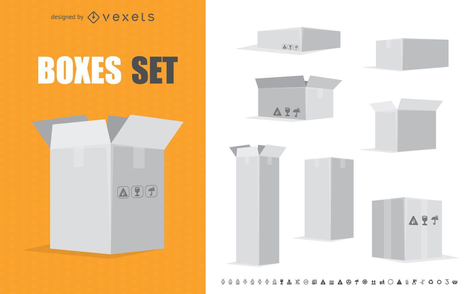 White box illustrations set