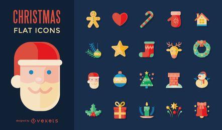 Colección de iconos navideños planos