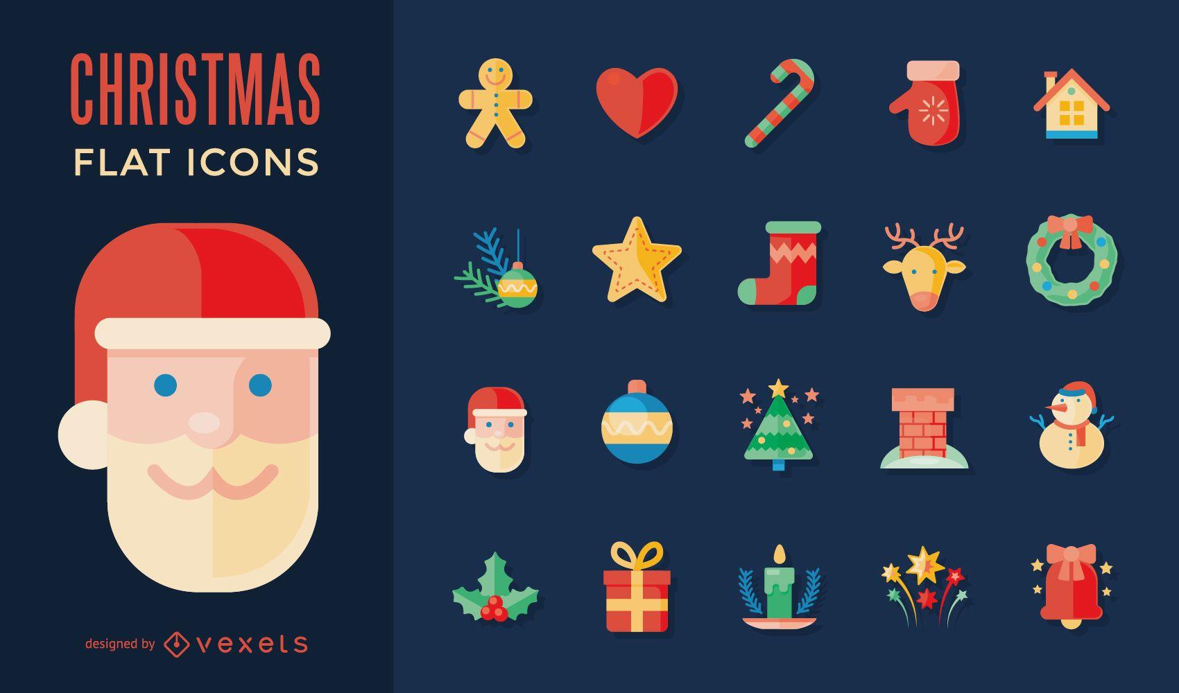 Colección de iconos de Navidad plana