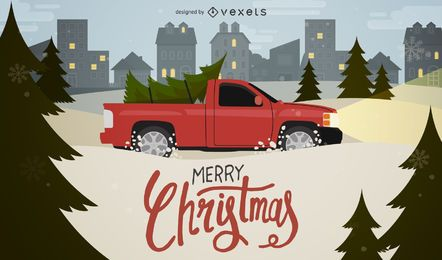 Car carrying Christmas tree illustration