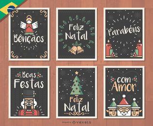 Conjunto de cartões de Natal Feliz Natal Natal