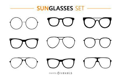 Conjunto de silhueta de óculos de sol