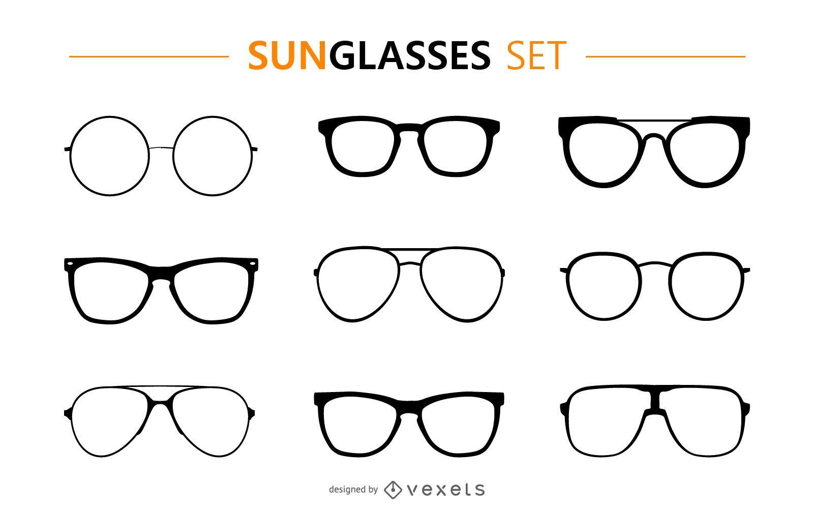 Sunglasses silhouette set
