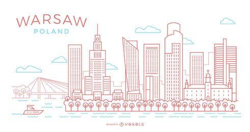 Ilustración de horizonte de trazo de Varsovia