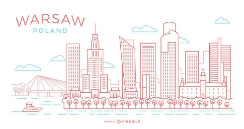 Warsaw stroke skyline illustration