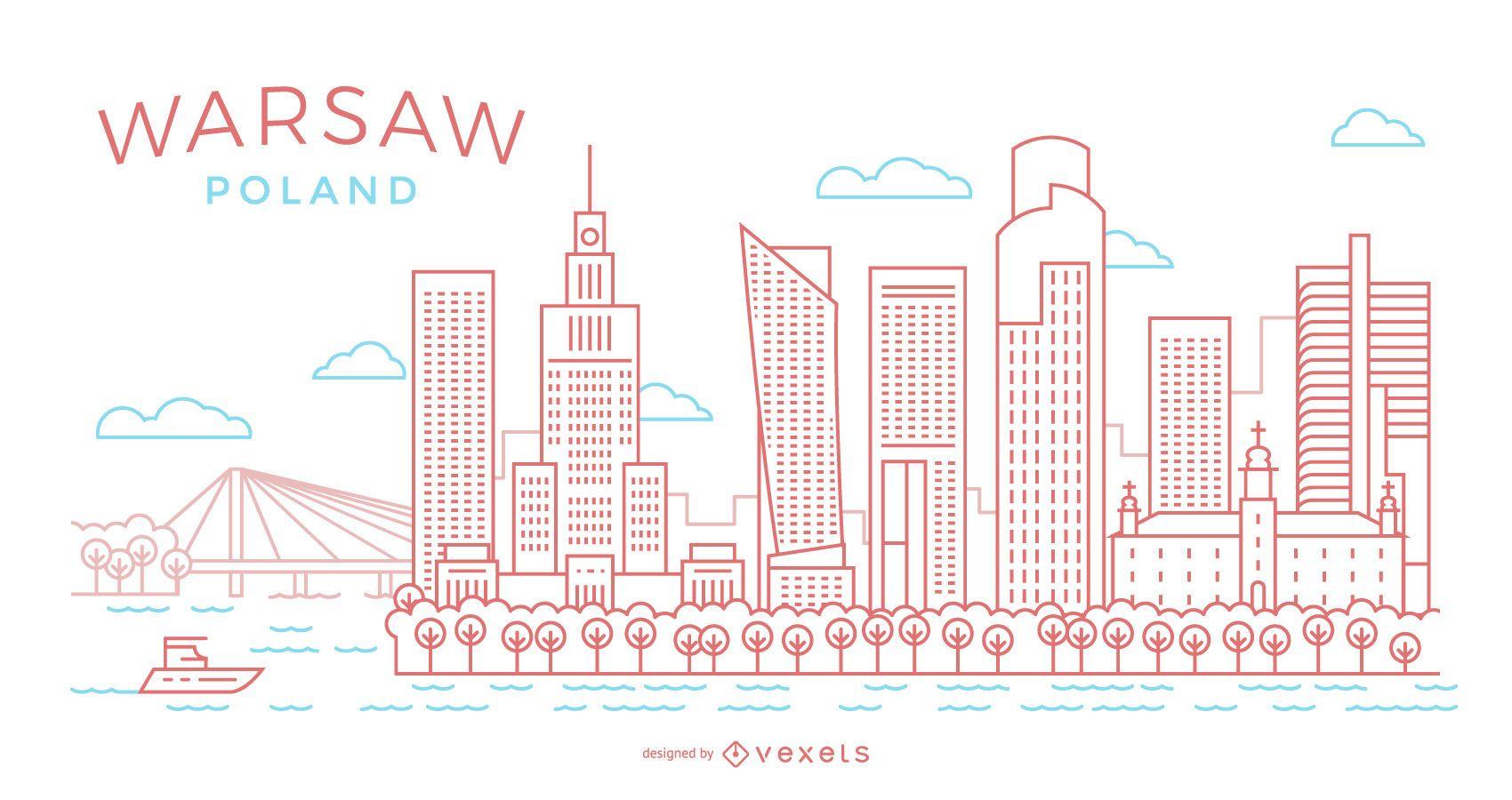 Warsaw stroke skyline illustration