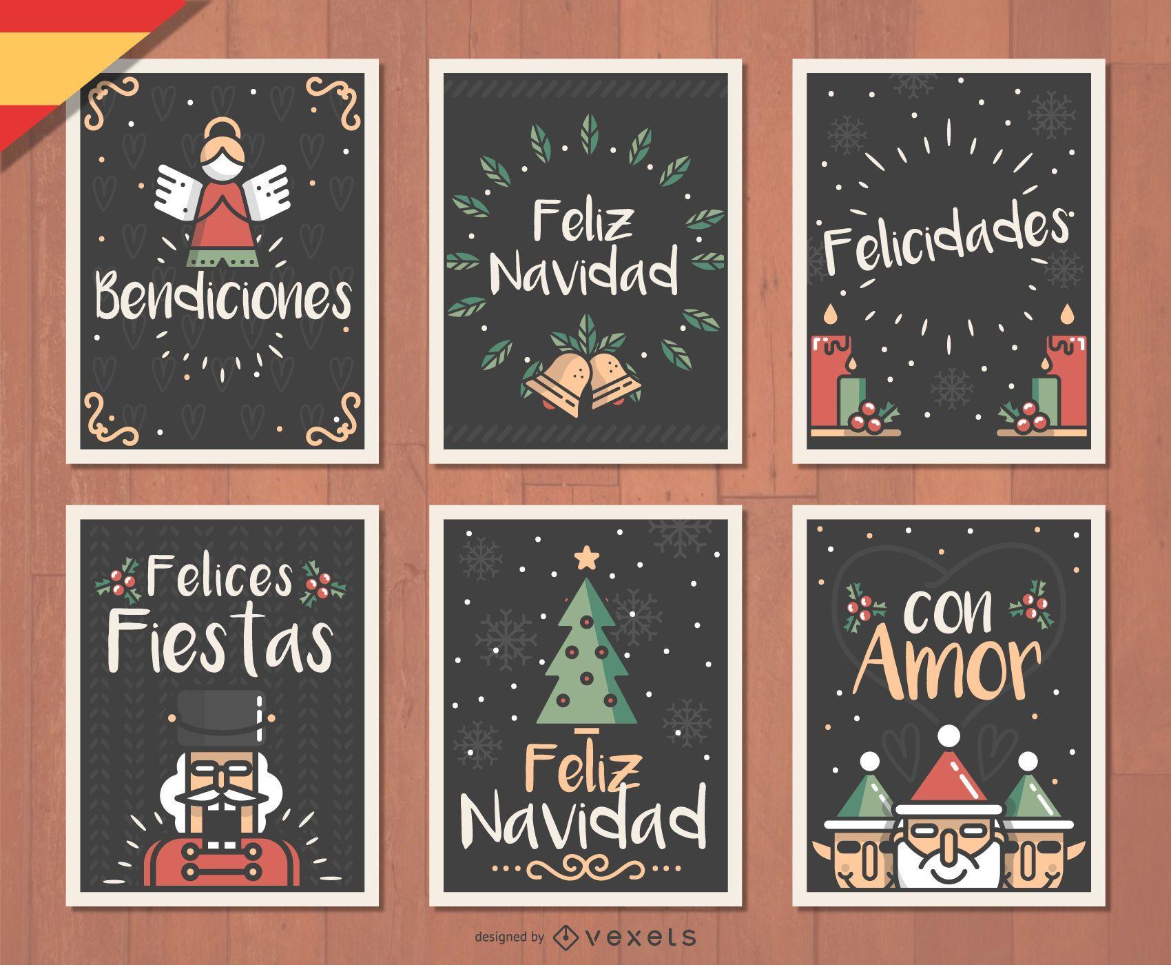 French Joyeux Noel Christmas card set - Vector download