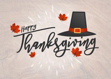 Cartão de Ação de Graças Feliz escrito à mão