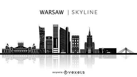 Skyline de silhueta de Varsóvia Polónia