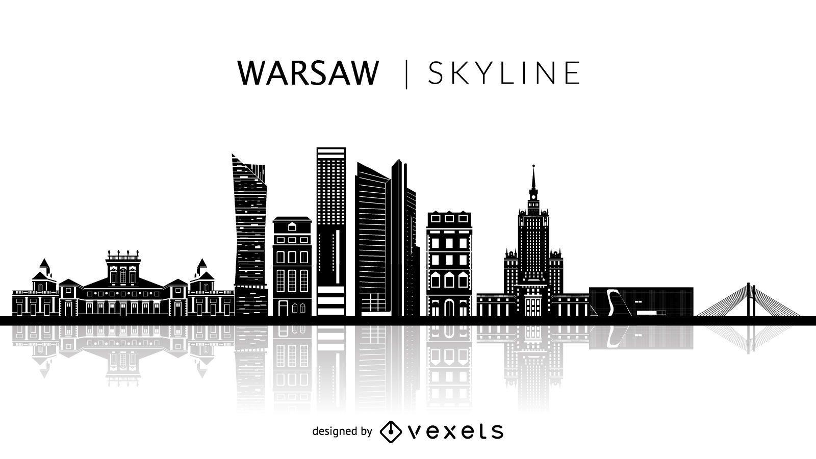 Silhueta do horizonte de Varsóvia na Polônia