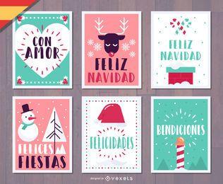 Conjunto de cartões de Natal Espanhol Feliz Navidad