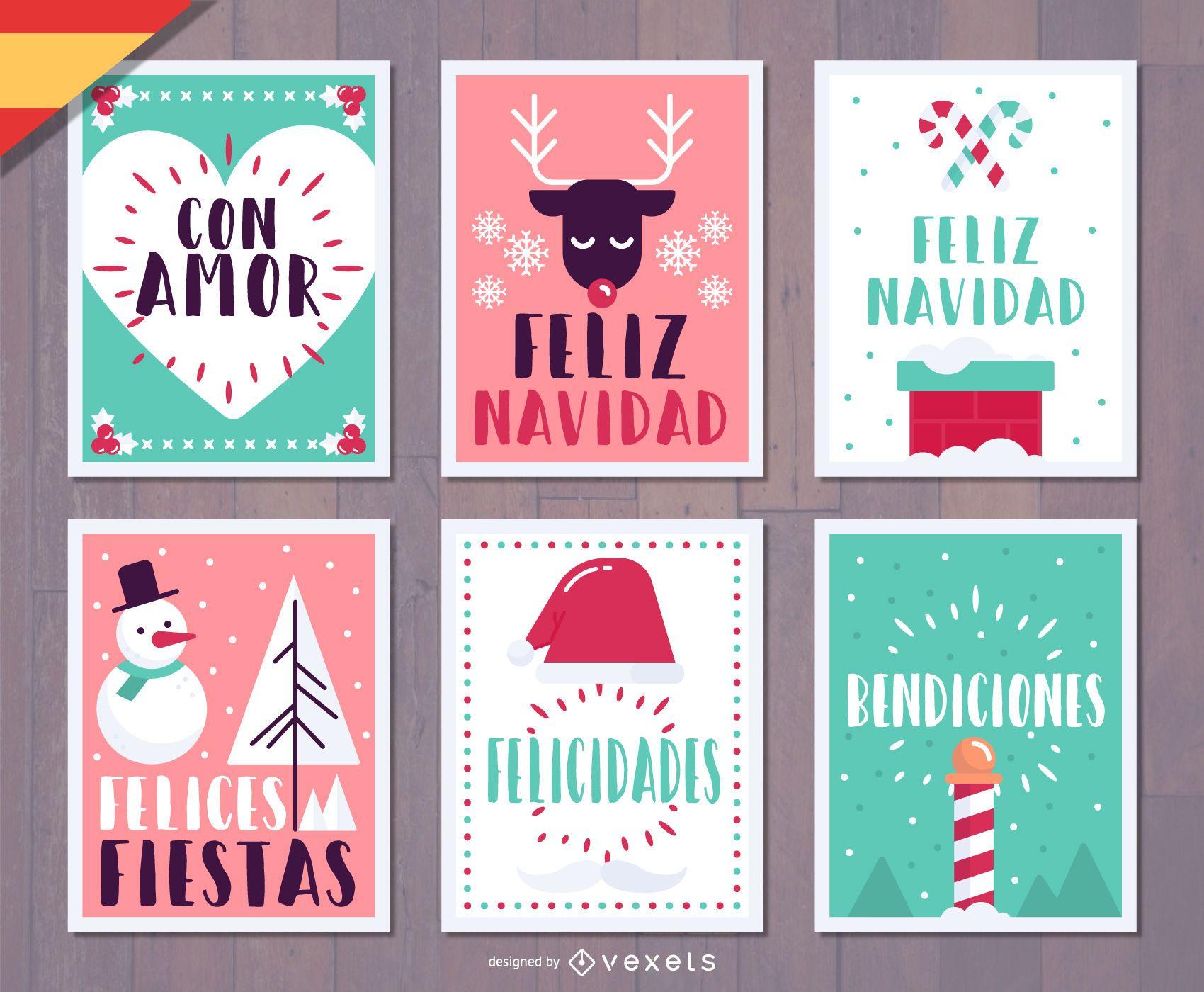 Spanish Feliz Navidad Christmas Card Set Vector Download