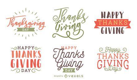 Conjunto de etiqueta de distintivo de ação de Graças