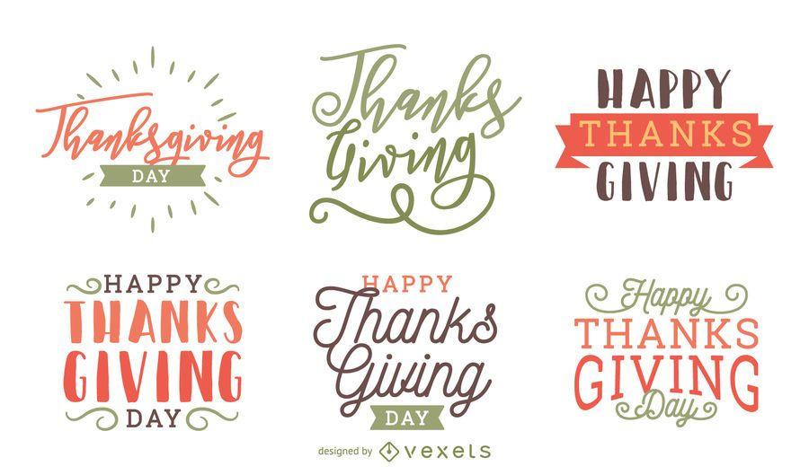 Conjunto de etiquetas de placa de acción de gracias