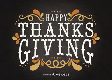 Cartão de letras de Ação de Graças