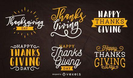 Conjunto de etiquetas de acción de gracias