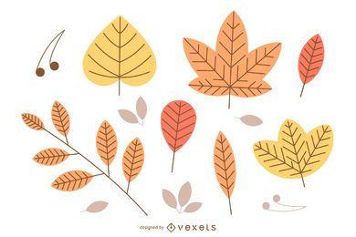 Ilustración de hojas de otoño aisladas