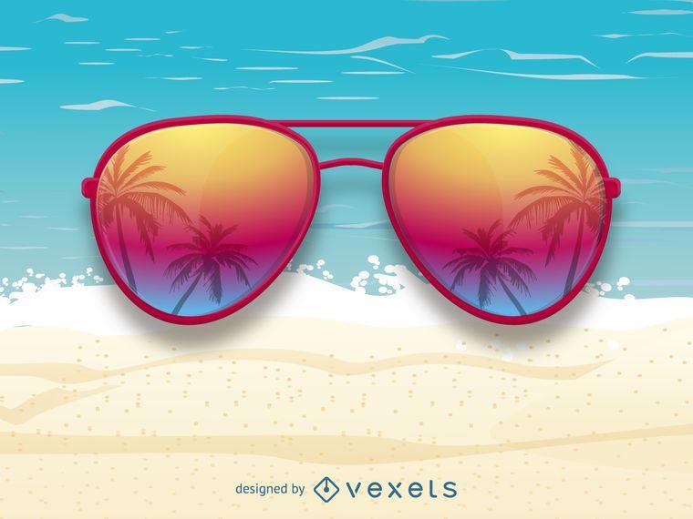 Óculos de sol com reflexão de palmeiras
