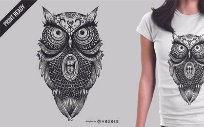 Projeto da t-shirt da ilustração da coruja da mandala