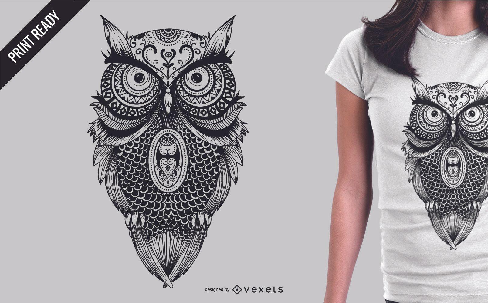 Mandala owl illustration t-shirt design - Vector download