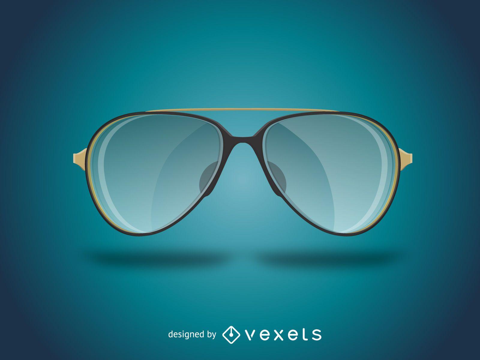 Realistic aviator sunglasses illustration