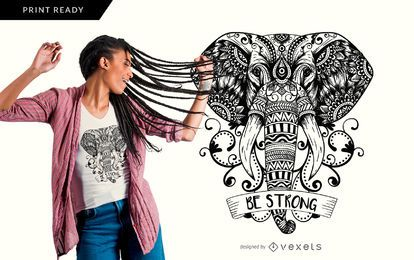 Mandala-Elefantent-shirt Entwurf