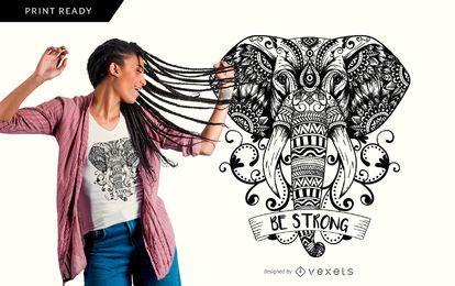 Projeto do t-shirt do elefante da mandala