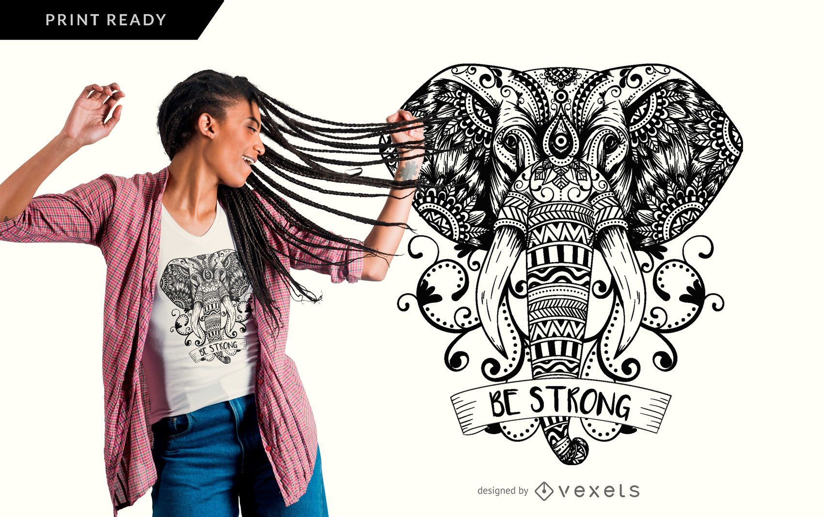 Mandala Elefant T-Shirt Design