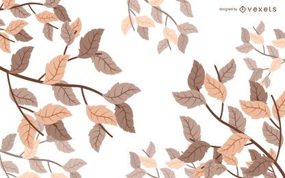 Illustrated autumn leaves background