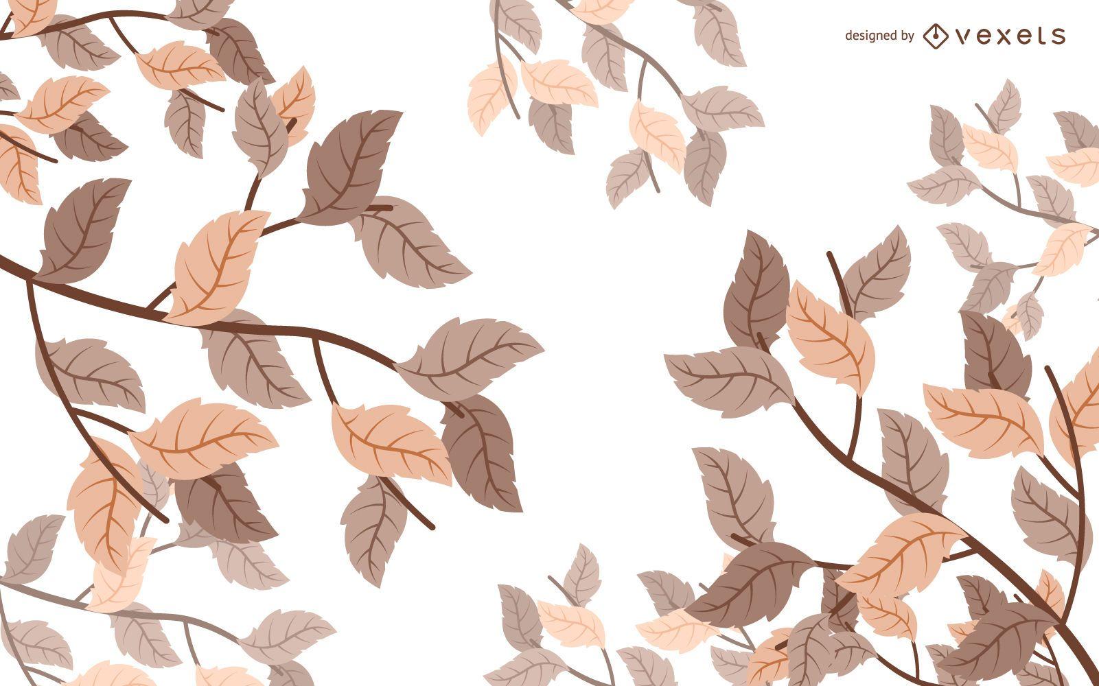 Illustrated autumn leaves background