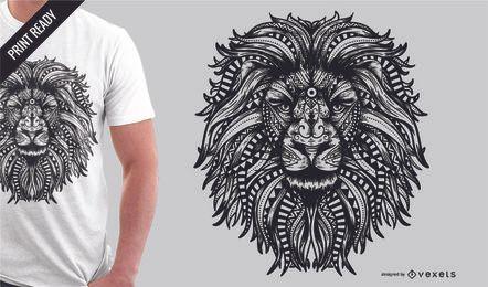 Design de t-shirt de leão de mandala
