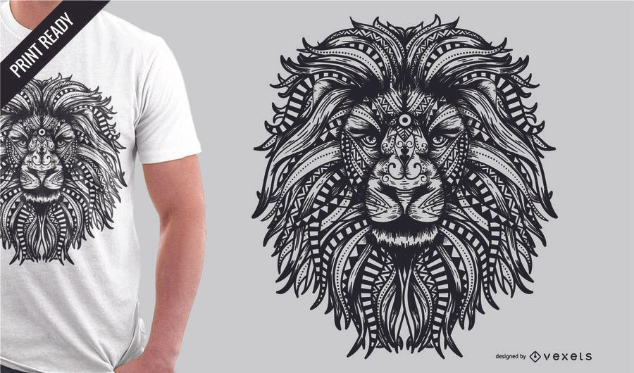 Mandala lion t-shirt design
