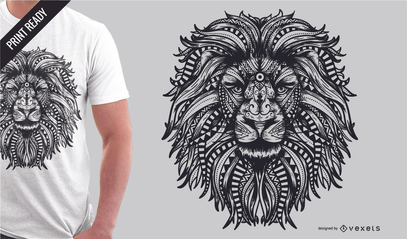 Download Mandala Lion T-shirt Design - Vector Download