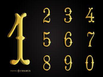 Colección de números ornamentales de oro en 3D