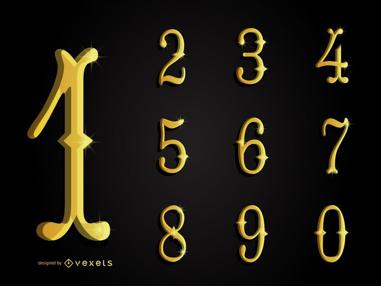 Colección de números ornamentales en oro 3D.