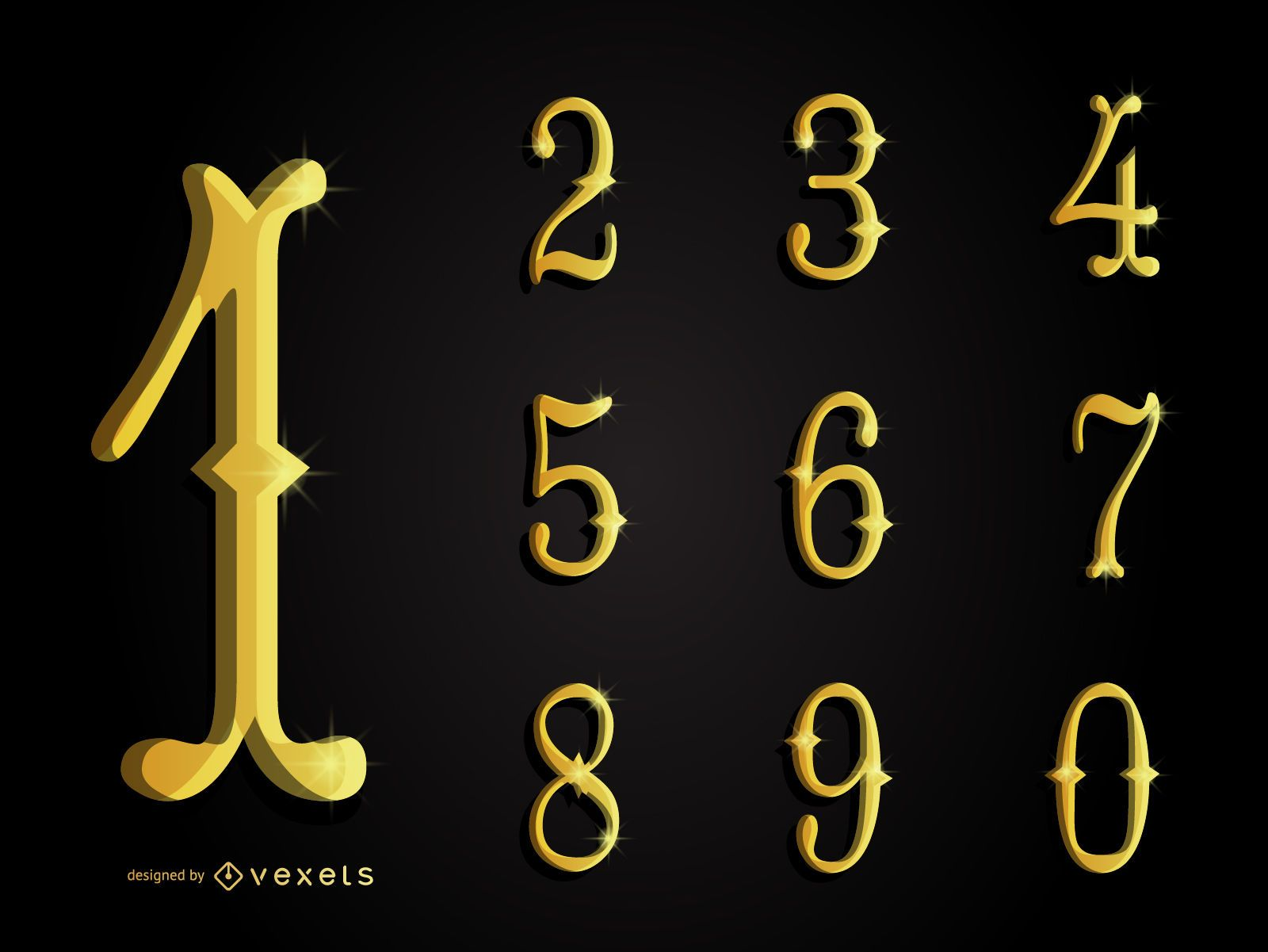 3D gold ornamental numbers collection