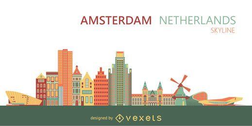Horizonte da cidade de Amsterdam