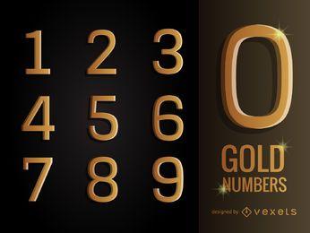 Pacote de números em ouro 3D