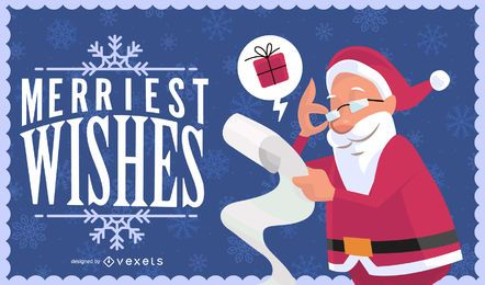 Tarjeta de navidad con santa y saludos.