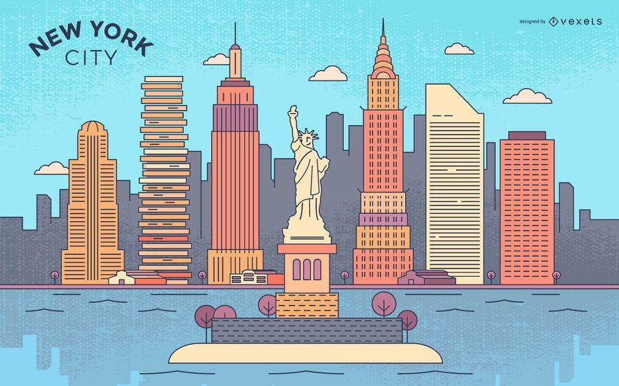 Horizonte de trazo colorido de Nueva York