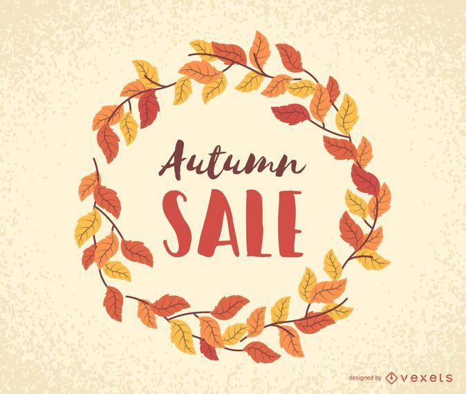 Autumn sale leaves frame